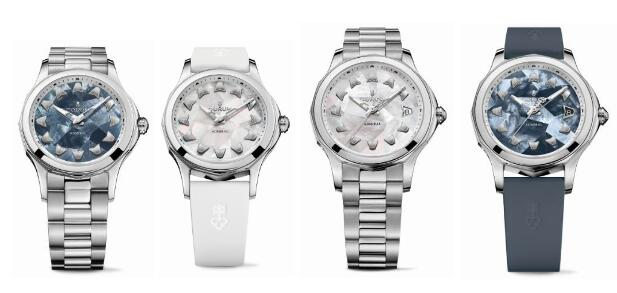 The color of the dial could be blue or green or some other due to the characteristic of mother-of-pearl.