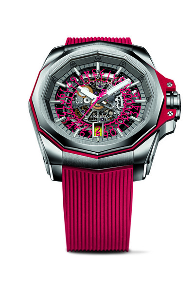The red rubber strap matches the Arabic numerals on the dial perfeclty.