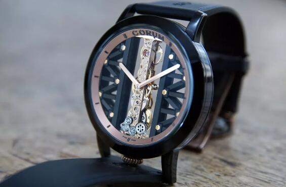 The sophisticated movement could be viewed clearly through the skeletonized dial.