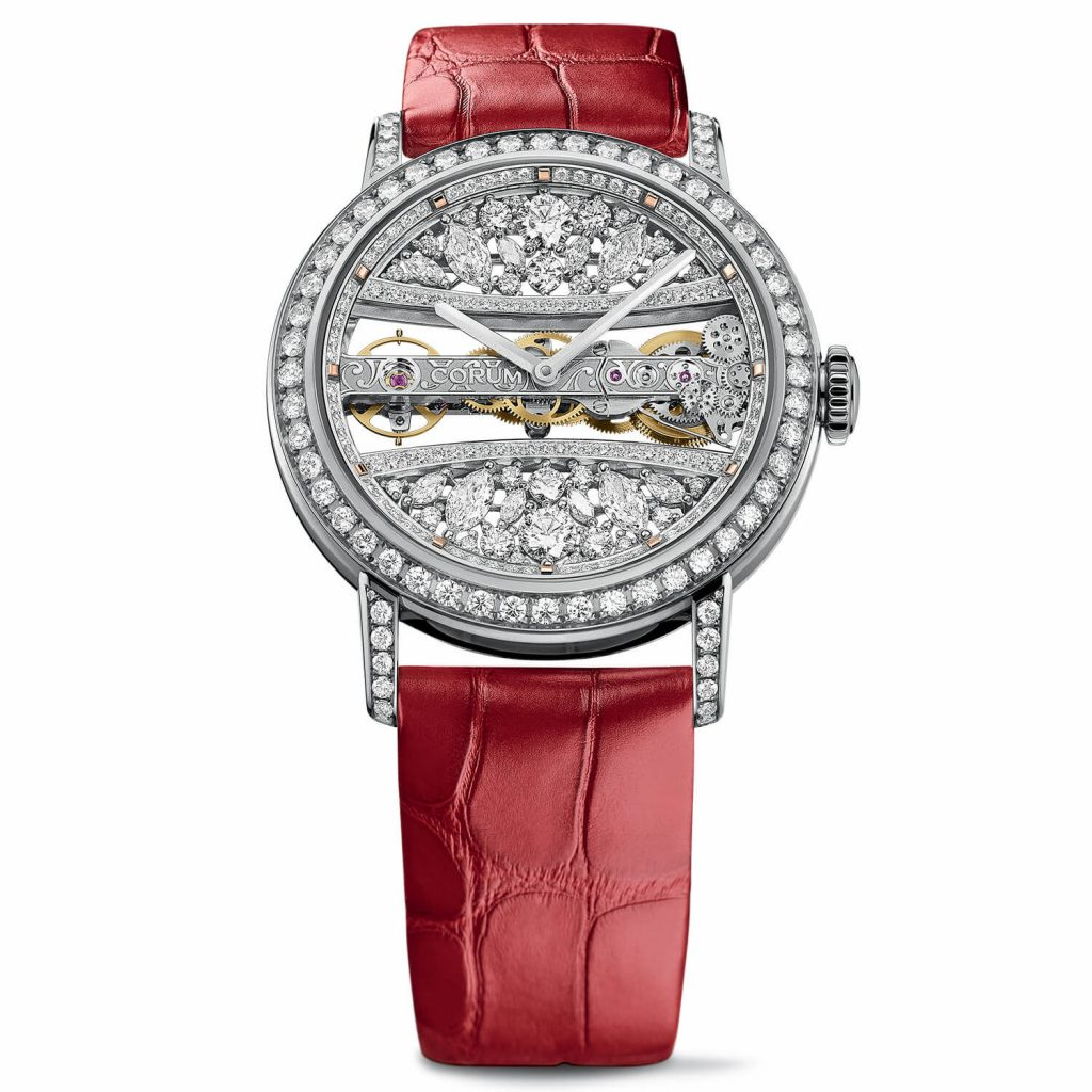 The diamonds paved on the dial and case enhance the nobility of the Corum.