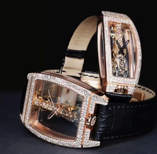 The distinctive rectangle movement could be viewed through the transparent sapphire crystal.