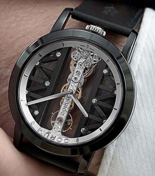 The all-black design endows the Corum the modern elegance.