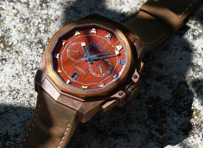 The Corum has combined two attractive features: teak dial and bronze case.