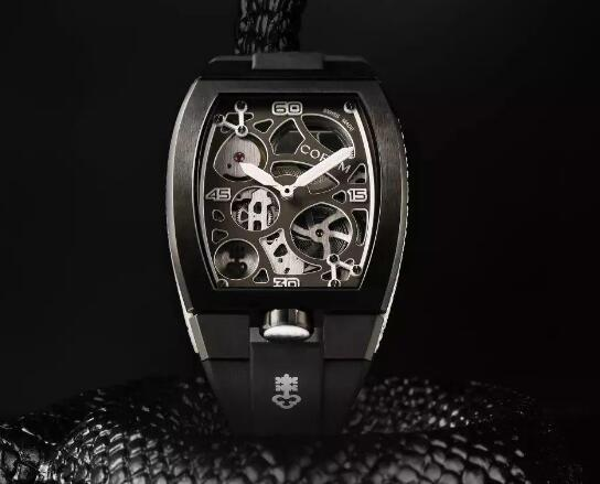 The all-black designed Corum looks cool and powerful.