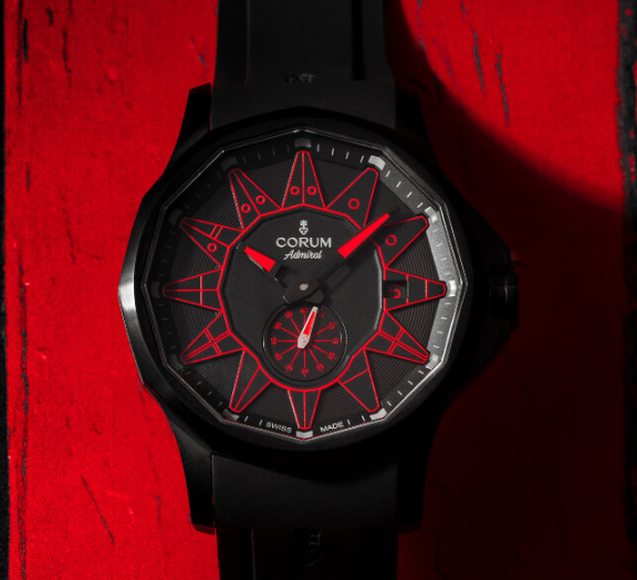 The red elements on the black dial are striking and eye-catching.